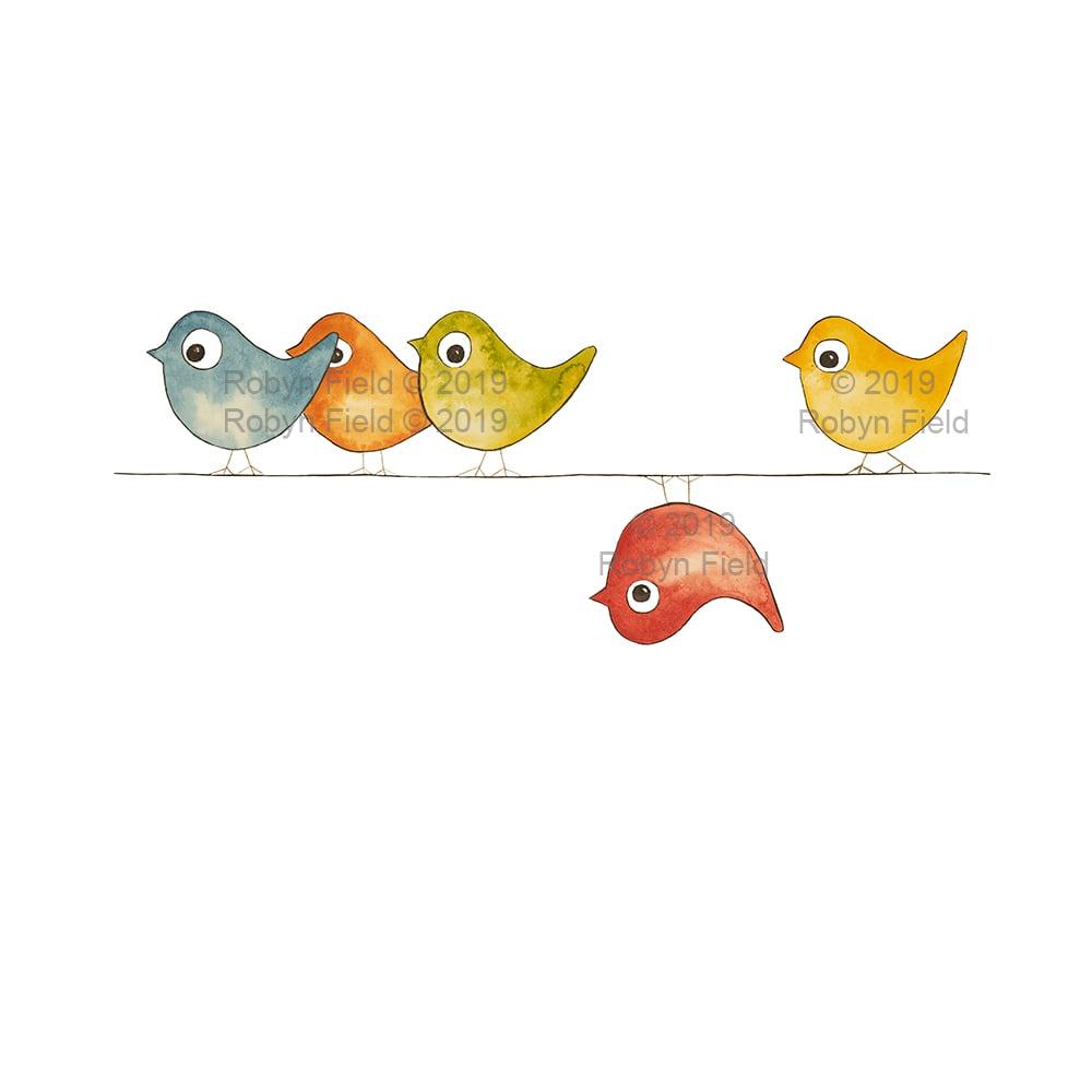 Image of Australian Artwork Print - Birds on a wire