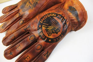 Image of Indian/Hendee MOTO ICON custom leather gloves