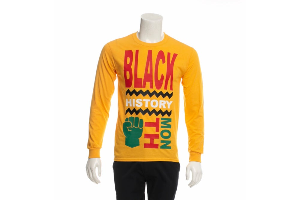 Image of Black History Month Long Sleeve T-shirt Gold