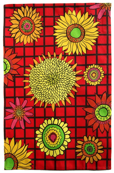 Image of Red Sunflower Graphic Tea Towel - FREE SHIPPING