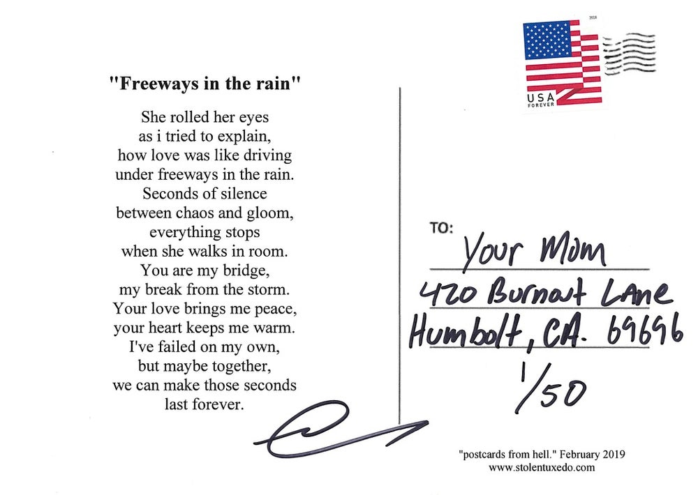 """Image of Postcards from hell- """"Freeways in the rain"""""""