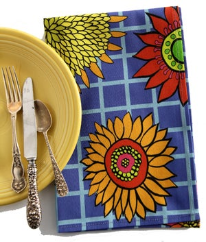 Image of Blue Graphic Sunflower Tea Towel - FREE SHIPPING