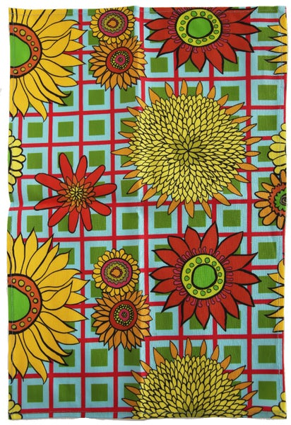Image of Turquoise Sunflower Plaid Tea Towel - FREE SHIPPING
