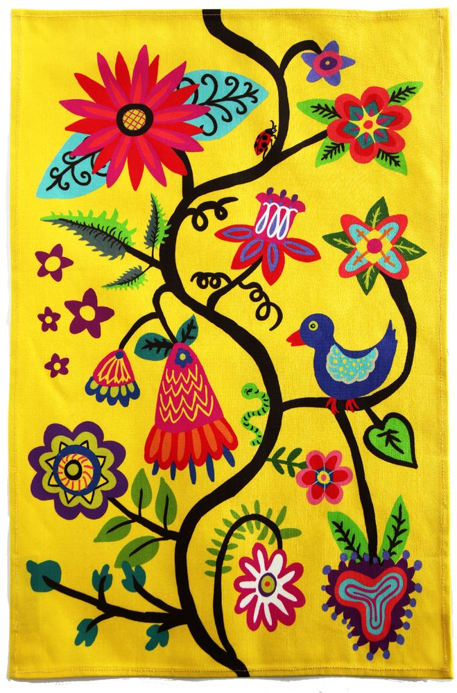 Image of Bright Yellow Bird and Flower Folkloric Tea Towel - FREE SHIPPING