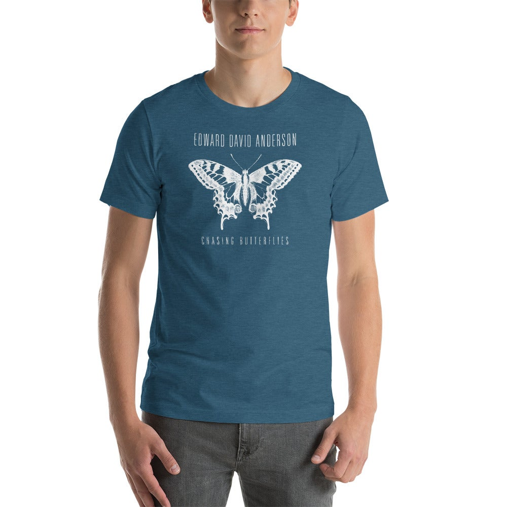 Image of Unisex Chasing Butterflies T-Shirt- White Print (4 colors)