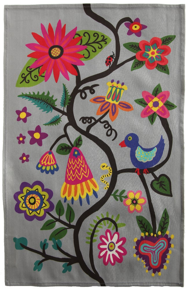 Image of Grey Bird and Flowers Folkloric Tea Towel - FREE SHIPPING