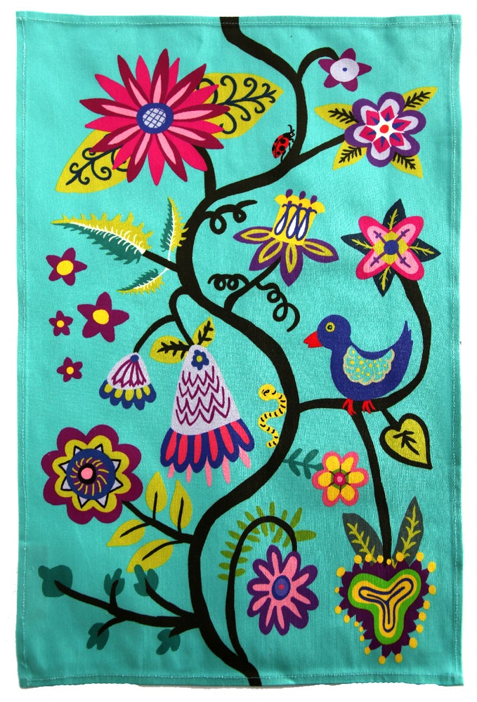 Image of Turquoise Bird and Flowers Folkloric Tea Towel - FREE SHIPPING