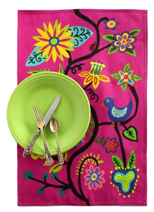Image of Hot Pink Bird and Flowers Folkloric Tea Towel - FREE SHIPPING