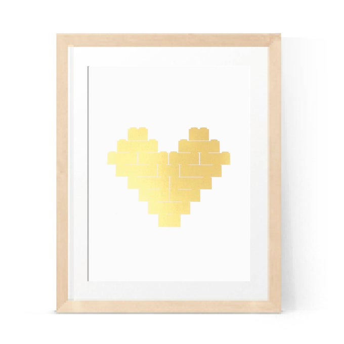 Image of Metallic Gold Lego Heart A4 Print