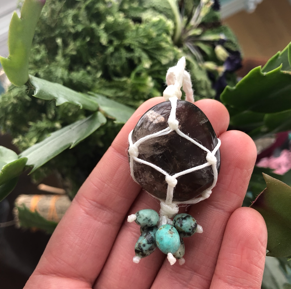 Image of Smoky Quartz + African Turquoise Necklace
