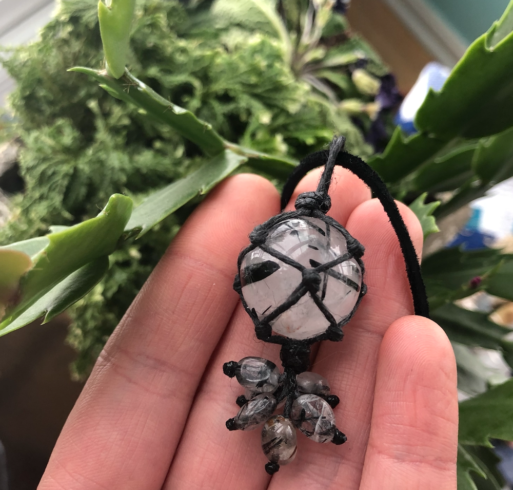 Image of Black Tourmalinated Quartz Sphere Necklace