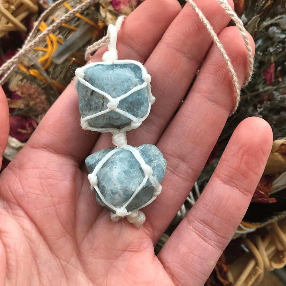 "Image of ""Serene Dreams"" Raw Aquamarine Necklace"