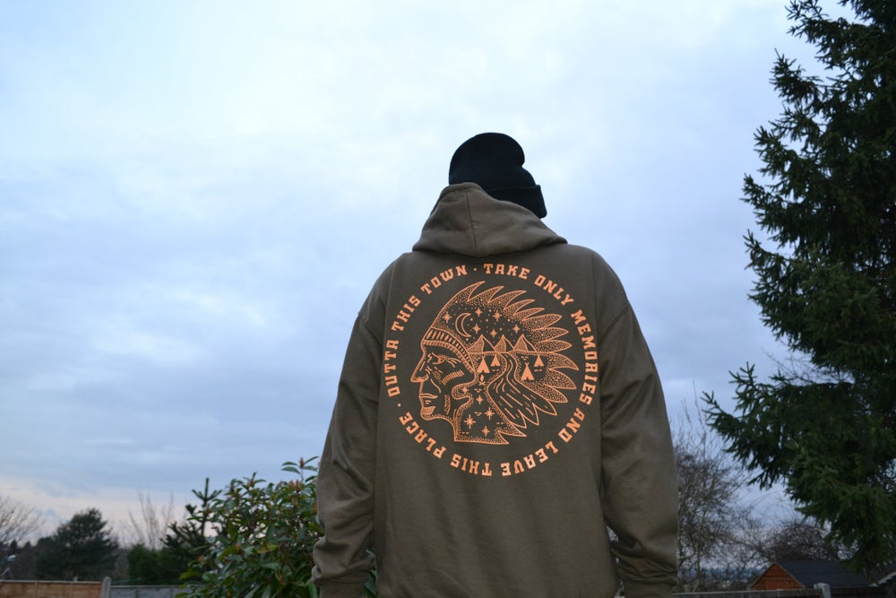 Image of Native American Hoodie Olive Green