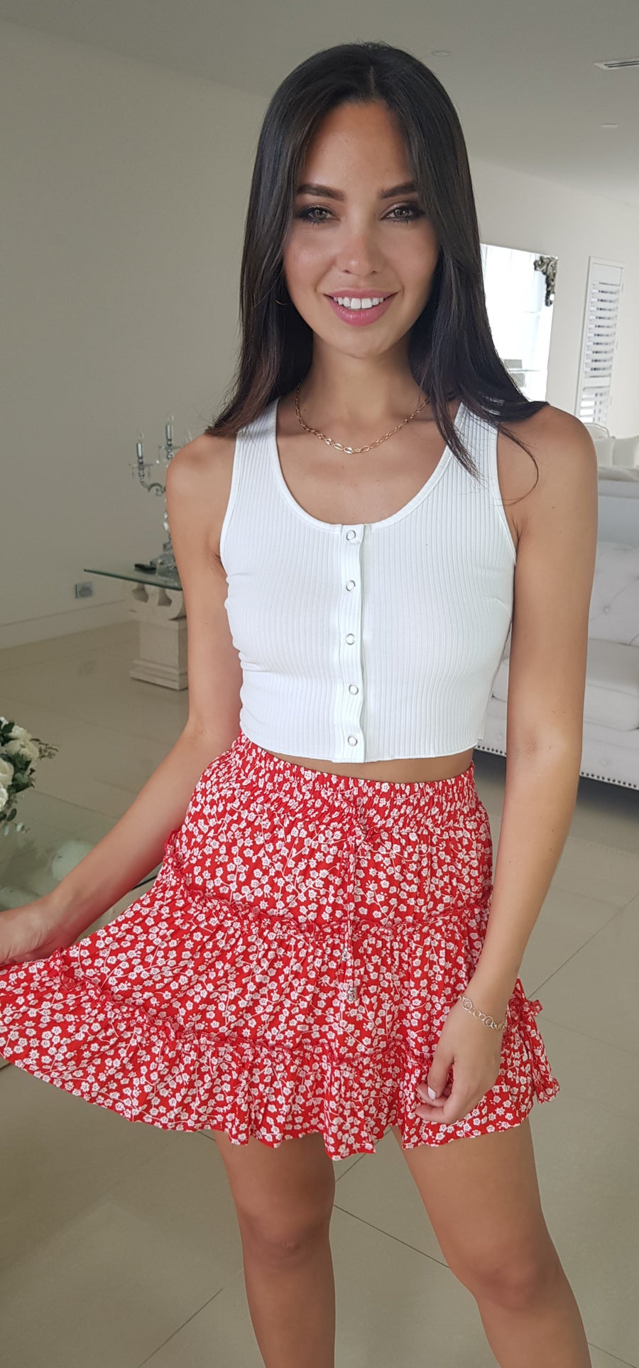 Image of CLEO SKIRT RED/WHITE