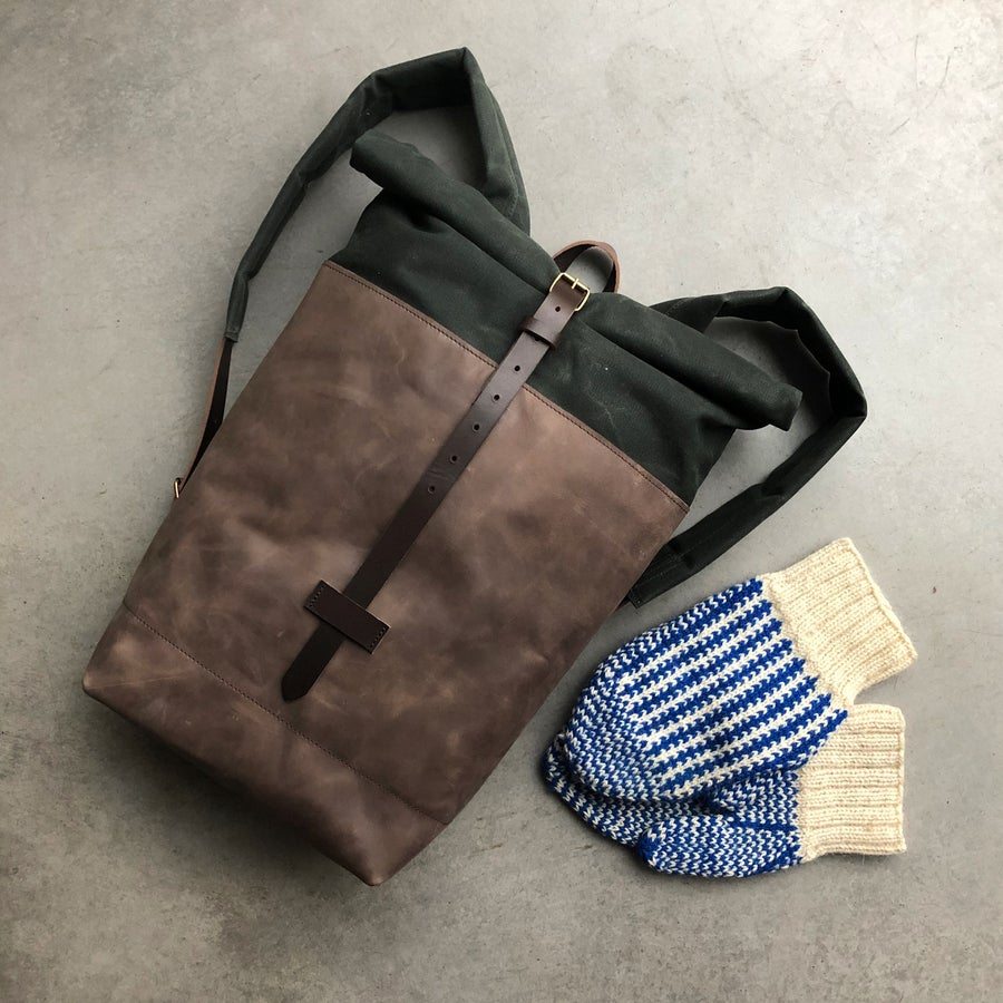 Image of Medium size, leather and waxed canvas backpack, with padded shoulder straps