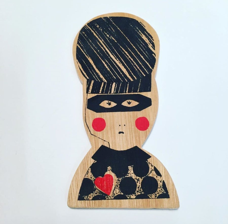 Image of Mini Wooden Wall Plaque - Miss Love Bandit