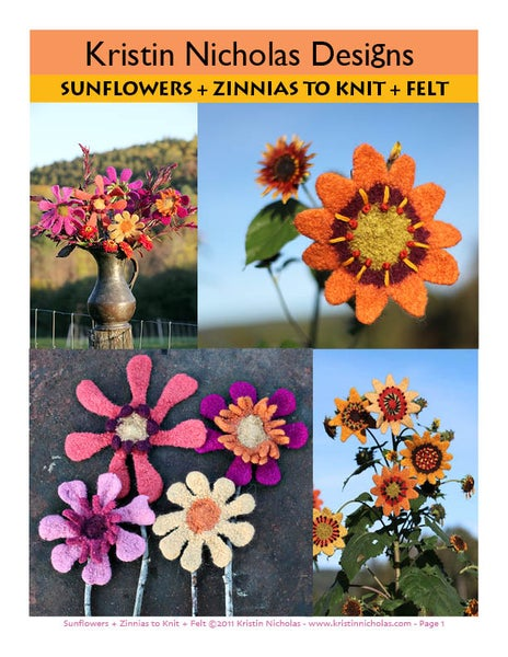 Image of Knit PDF - Sunflowers and Zinnias to Knit and Felt Download