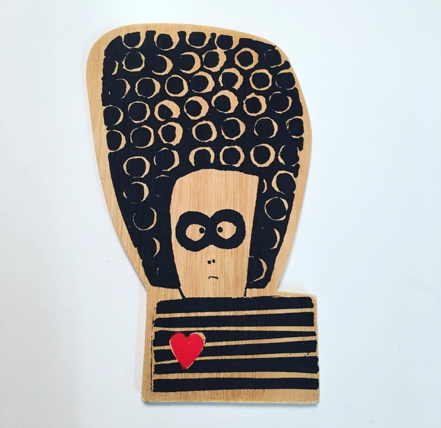 Image of Mini Wooden Wall Plaque - Mr Love Bandit