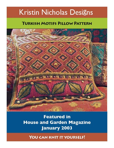 Image of Knit PDF - Turkish Leaves Pillow Download