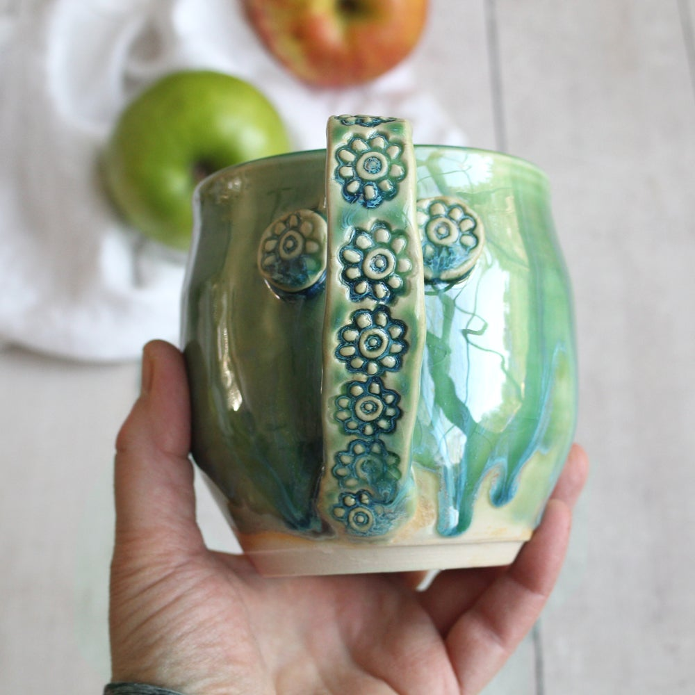 Image of Large Green Pottery Mug, Handmade Stoneware Coffee Cup, Handmade in USA