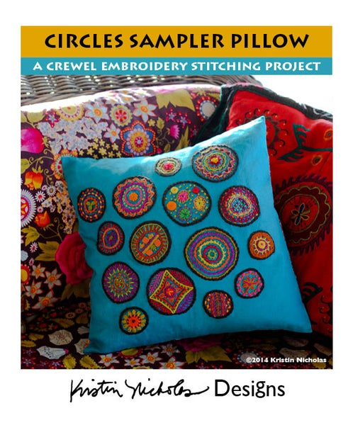 Image of Crewel Embroidery PDF - Circles Sampler Pattern Download