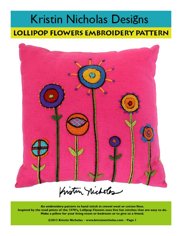 Image of Crewel Embroidery PDF - Lollipop Flowers Pillow Download