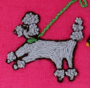 Image of Crewel Embroidery PDF - Walk the Dog Pillow Download