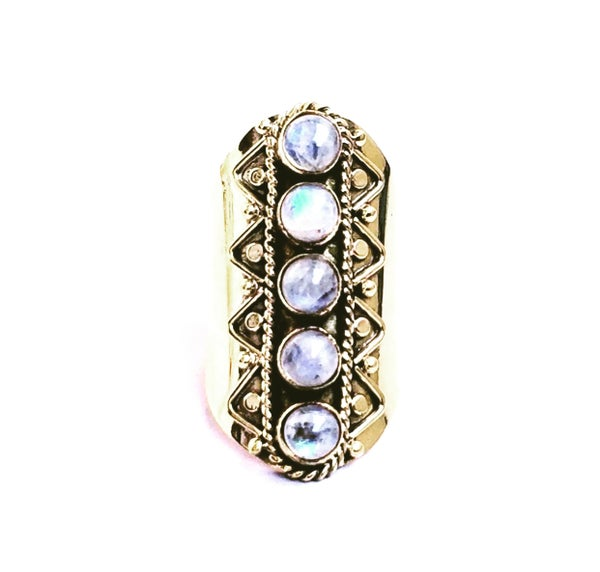 Image of Moonstone Paved Shield Ring
