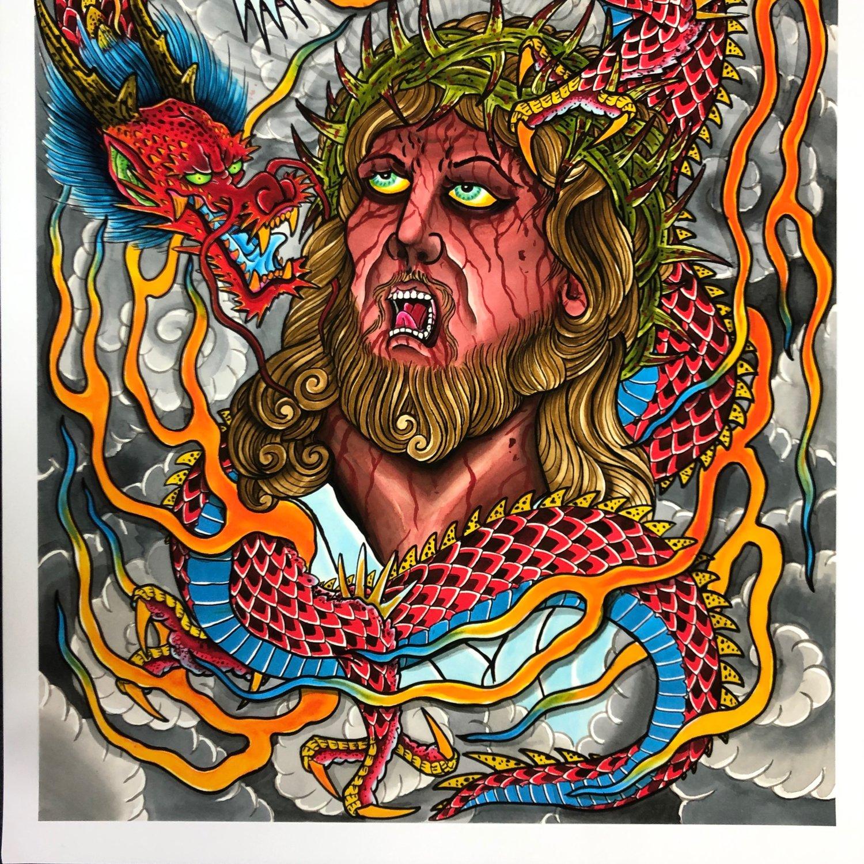 Image of JESUS / DRAGON GICLEE