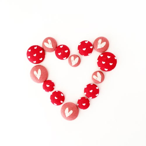 Image of Red Heart Stud Earrings