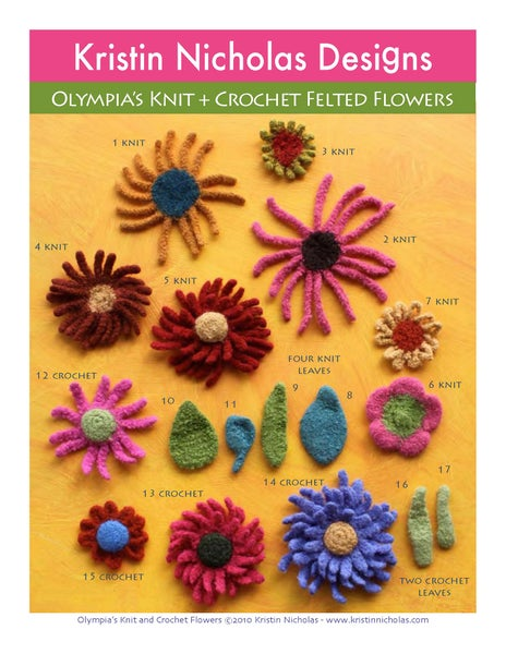 Image of Knit PDF - Olympia's Knit and Crochet Felted Flowers Download