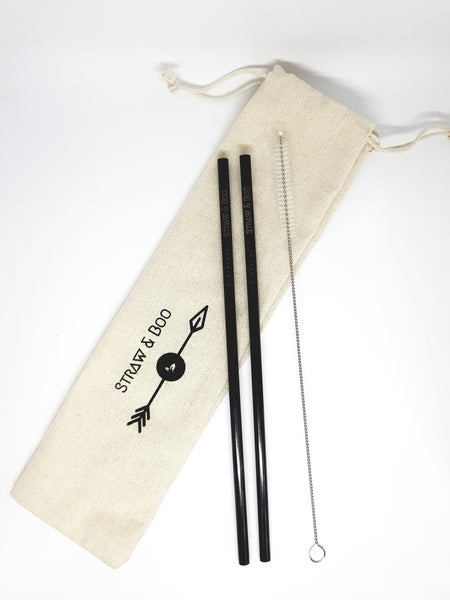 Image of Black straight straws 2, 4 or 6 packs