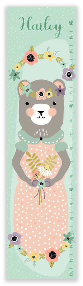 Image of Sweet Vintage Minty Bear Personalized Canvas Growth Chart