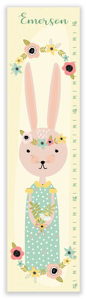 Image of Sweet Vintage Bunny Personalized Canvas Growth Chart