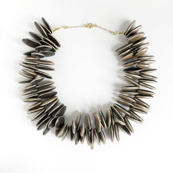 Image of chocolate & pewter cluster necklace