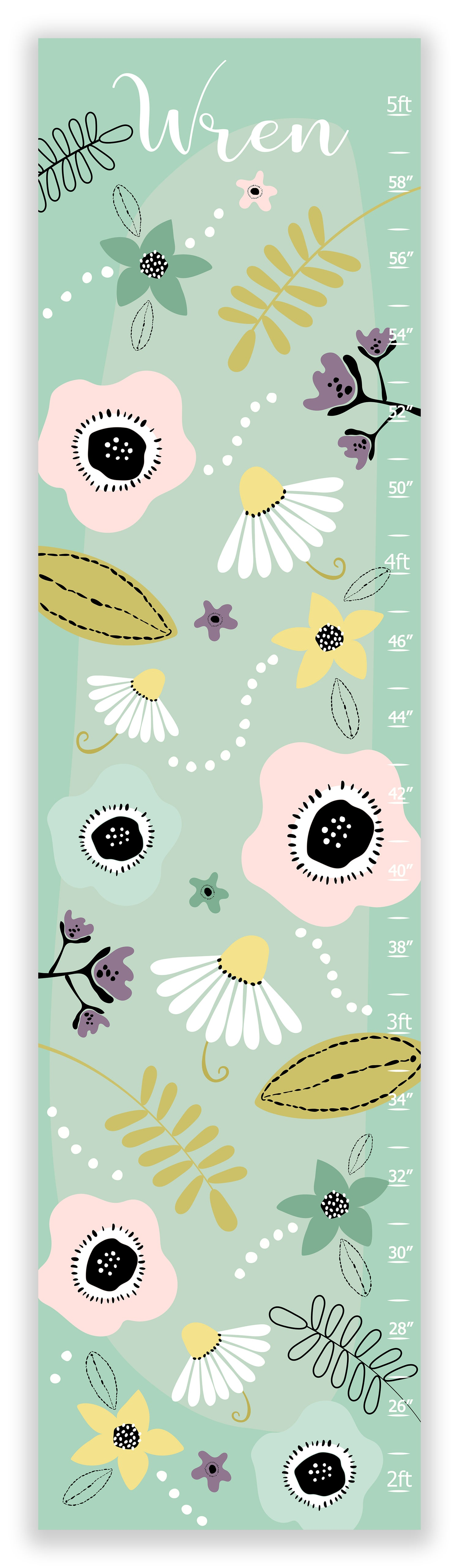 Image of Modern Boho Mint Floral Personalized Canvas Growth CHart