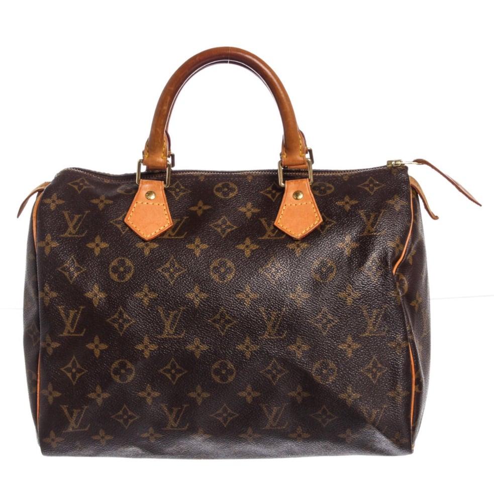 Image of Louis Vuitton Monogram Canvas Leather Speedy 30 cm Bag