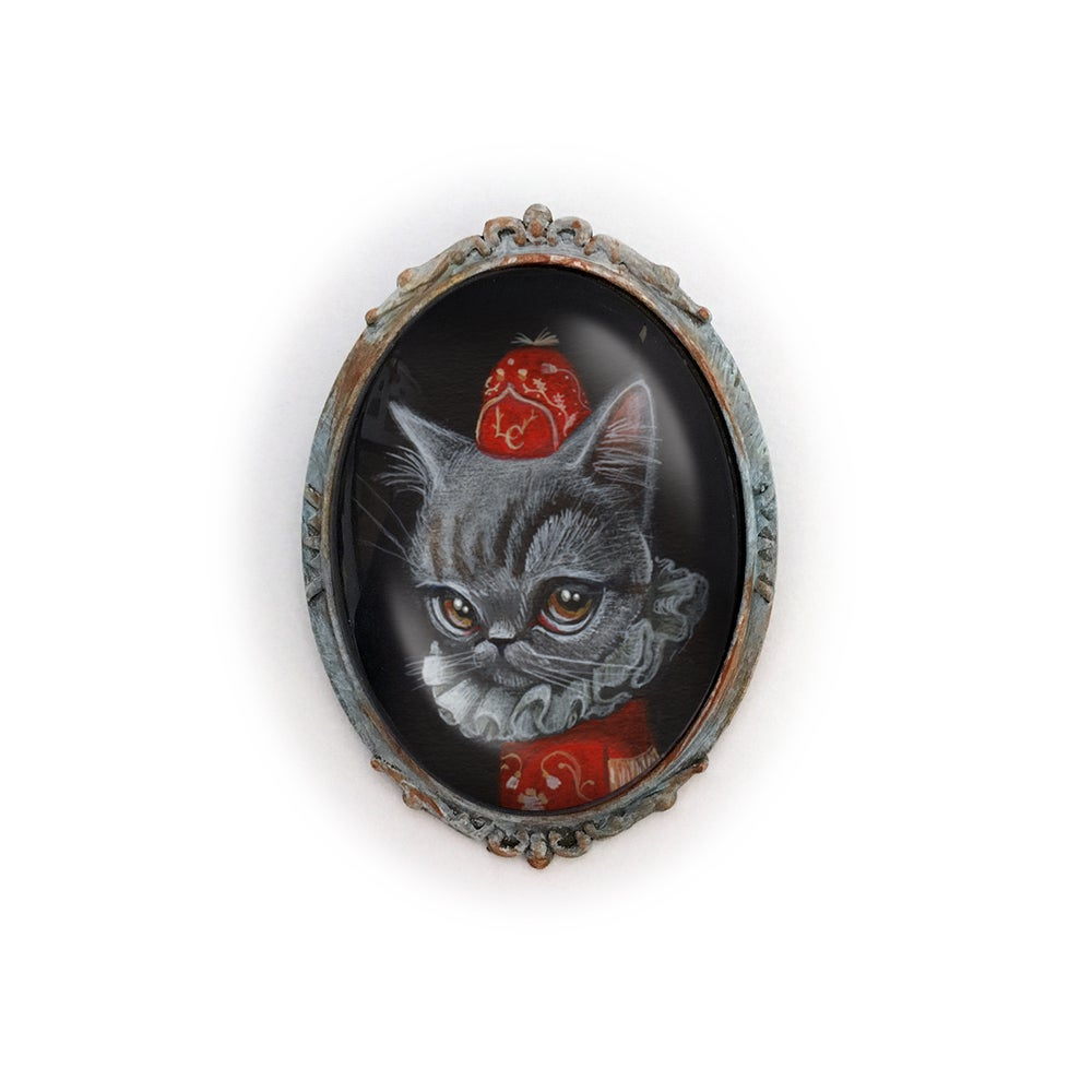 Image of Duke Whiskered (Mini Print Brooch)