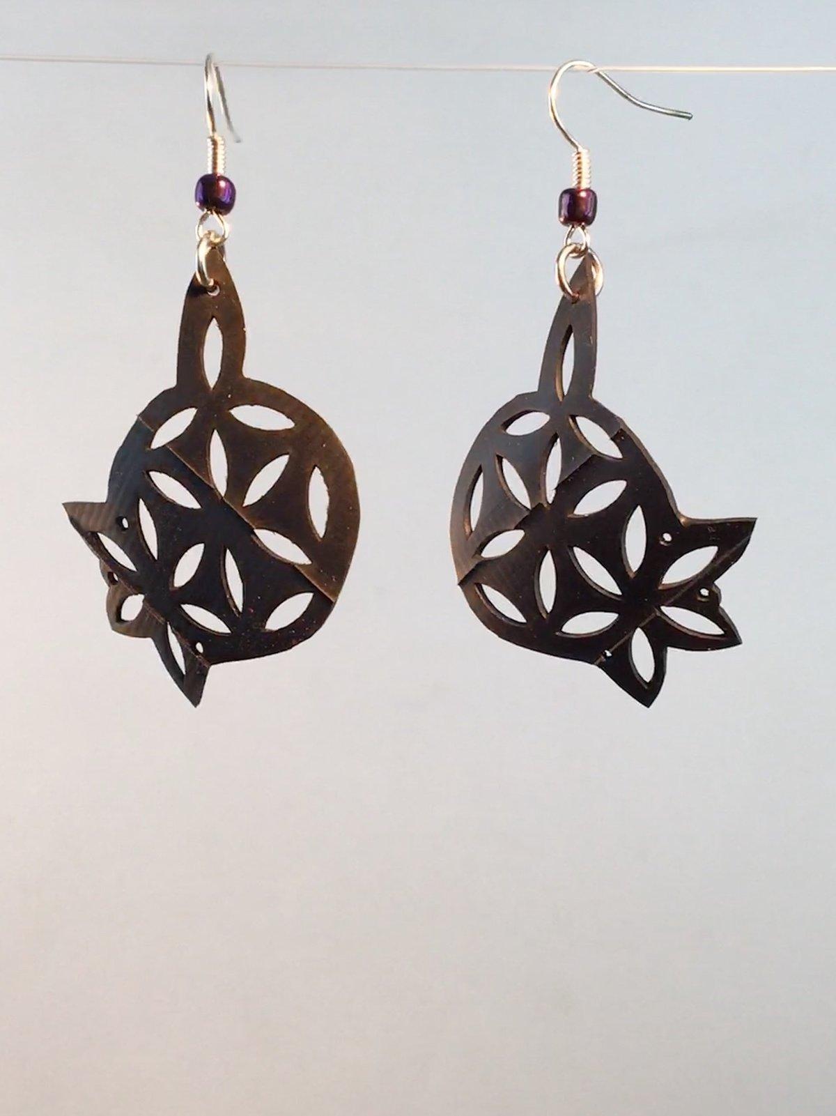 Mandala Sprout Sacred Geometry Bike Inner Tube Earrings