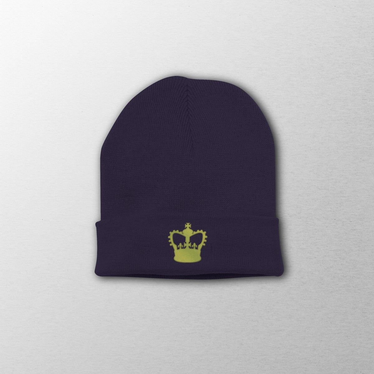 Image of Patrick Joseph Black Embroidered Crown Beanie Hat