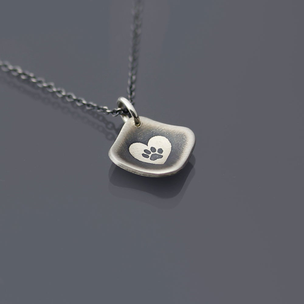 Image of Sterling Silver Heart Paw Print Necklace