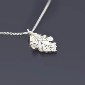 Image of Brushed Sterling Silver Bur Oak Leaf Necklace