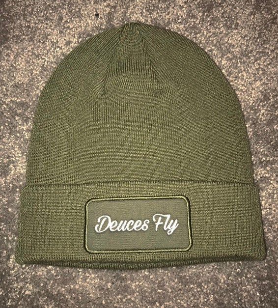 Image of Deuces Fly Olive Beanie