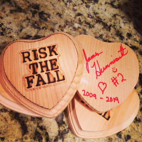 Image of Risk the Fall wooden heart