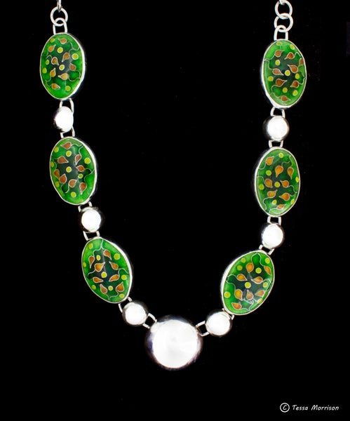Image of Spring Buds: Cloisonné Enamel Necklace