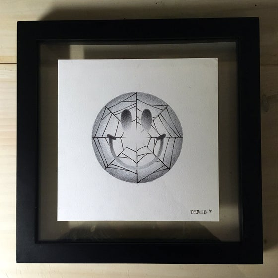 Image of Smiley Spiderweb Framed ORIGINAL