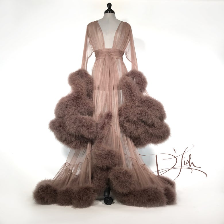 "Image of Cappuccino Deluxe ""Cassandra"" Dressing Gown"