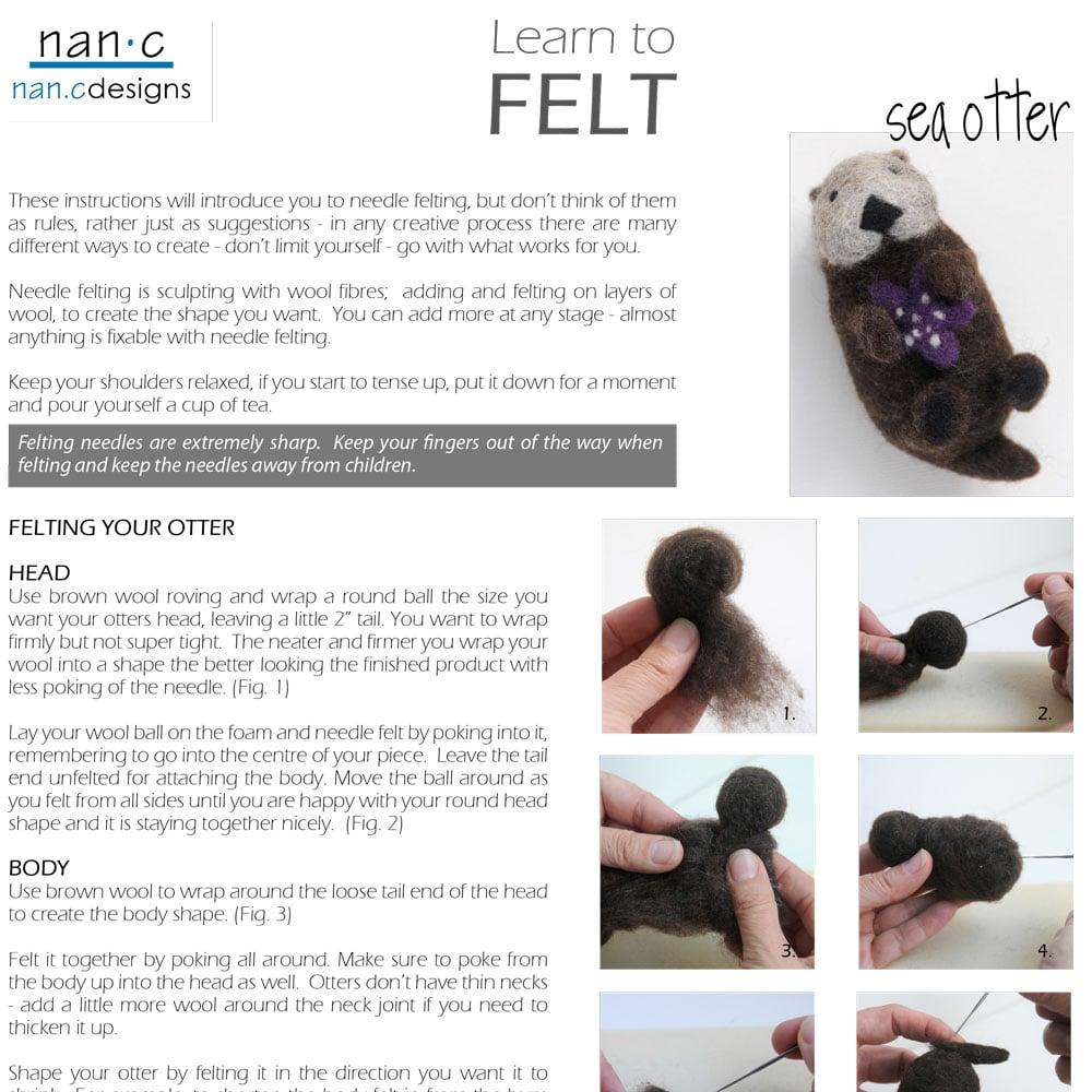 PDF Sea Otter Felting Instructions