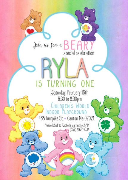 Image of Care Bear & Fortnite Birthday Invitations