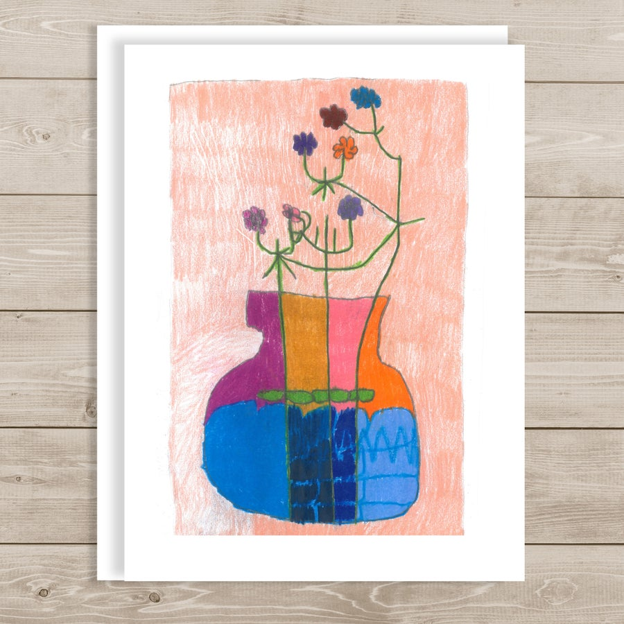 Image of Flowers in a Colorful Vase